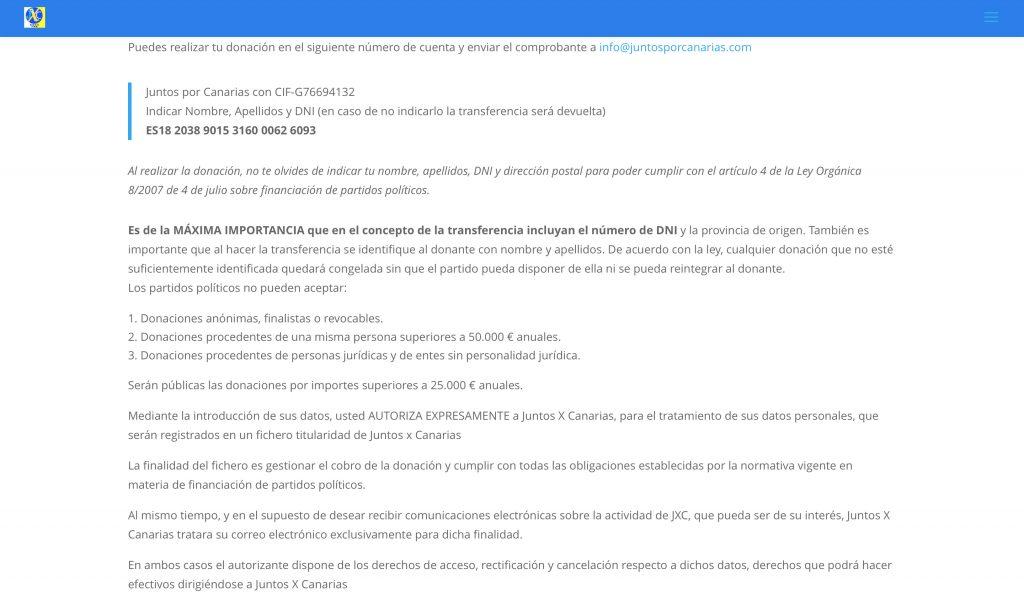 Imagen de la web de JuntosXCanarias con las condiciones de las donaciones