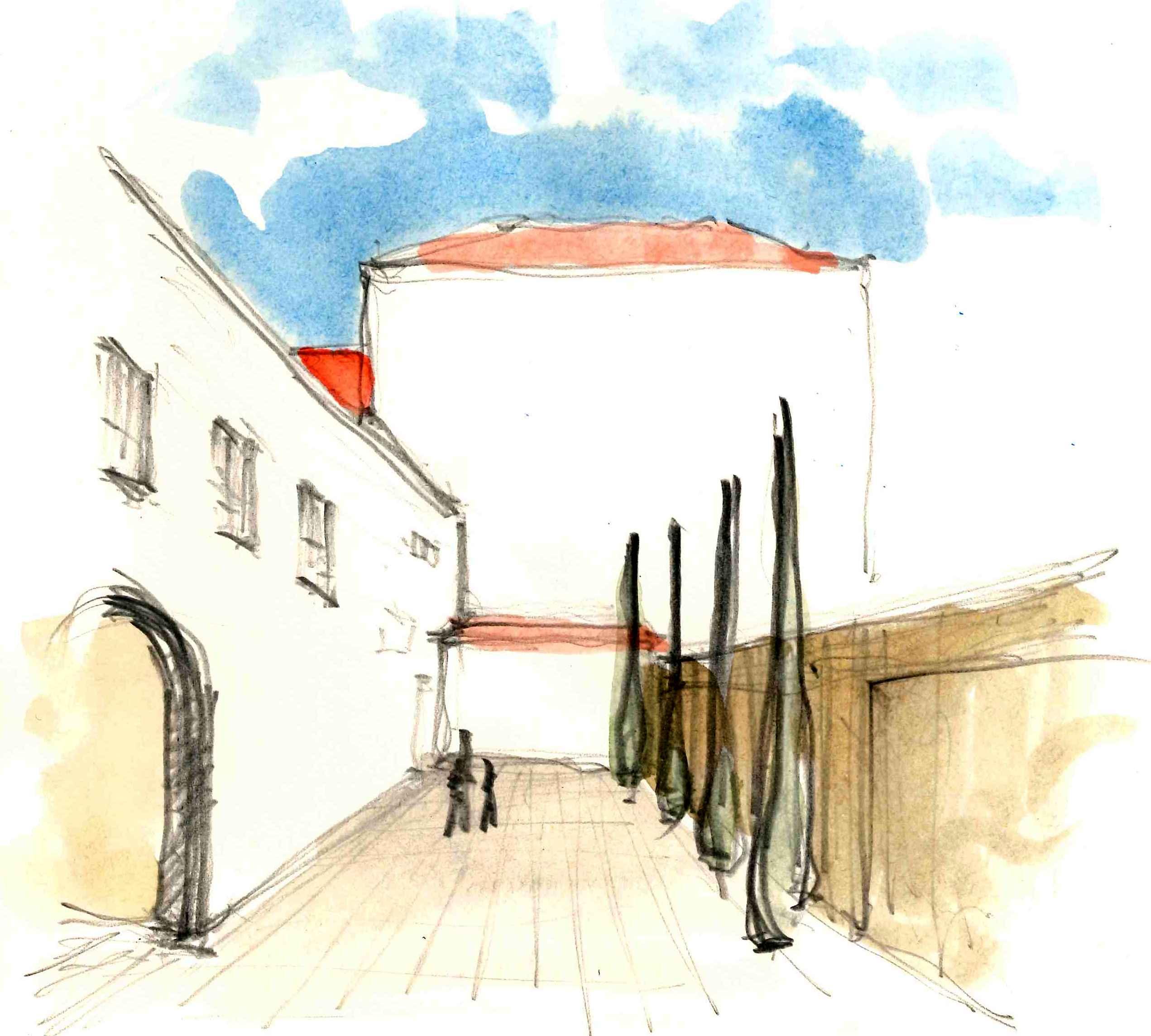 Boceto de la terraza del edificio de servicios dentro del antiguo convento de San Francisco