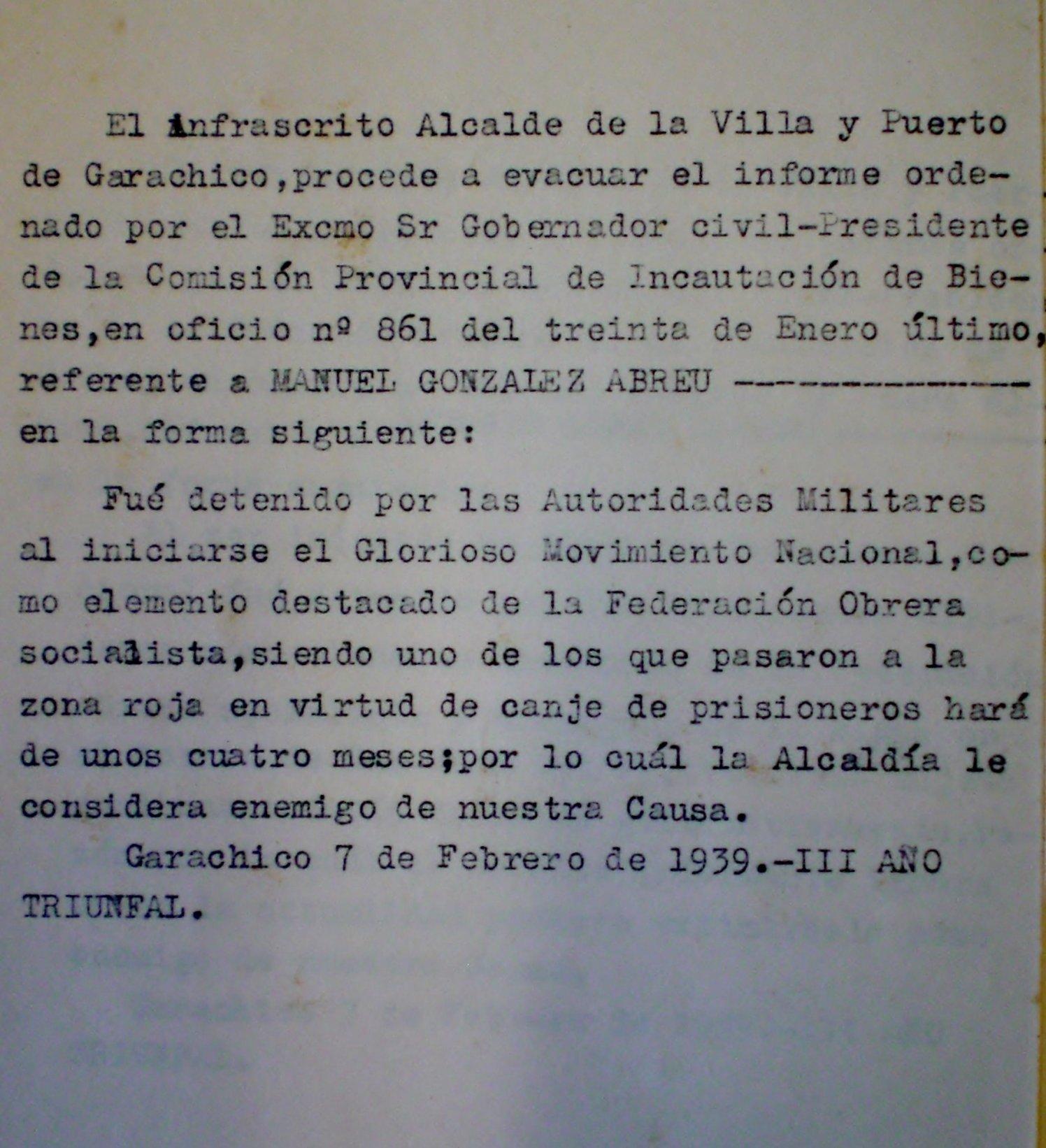 Documento del Archivo Municipal de Garachico por el que se ordena la incautación de bienes familiares de Manuel González Abreu